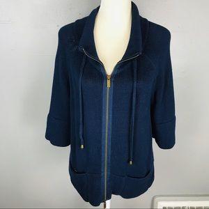 Lane Bryant cardigan zip up sweater navy 14 16